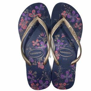 Havaianas Flip Flips Sandals Flowers Gold Navy